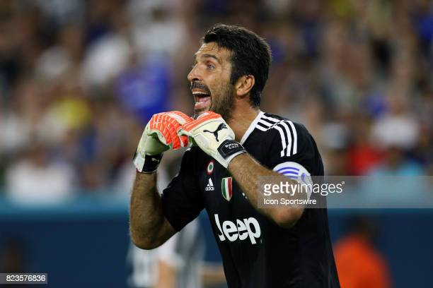 Juventus goalkeeper Gianluigi Buffon gives direction to his teammates during the first half of the International Champions Cup match against Paris St...