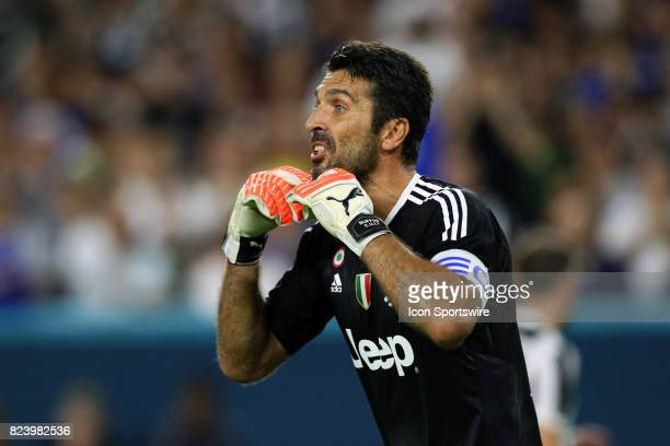 Juventus goalkeeper Gianluigi Buffon gives instruction to his team during the first half of the International Champions Cup match against Paris St...