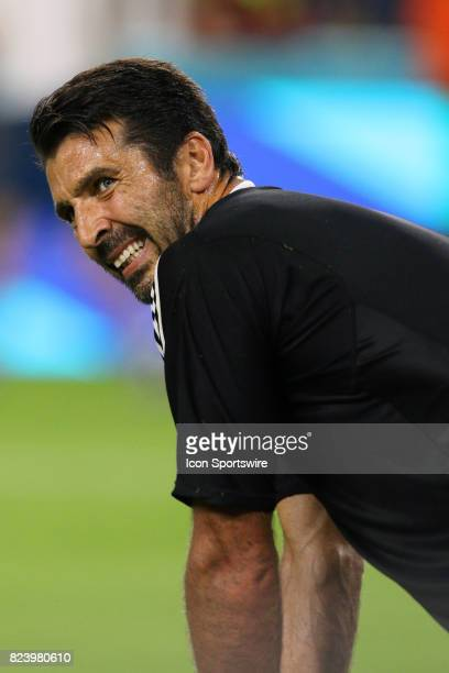 Juventus goalkeeper Gianluigi Buffon in action during the first half of the International Champions Cup match against Paris St Germain at Hard Rock...