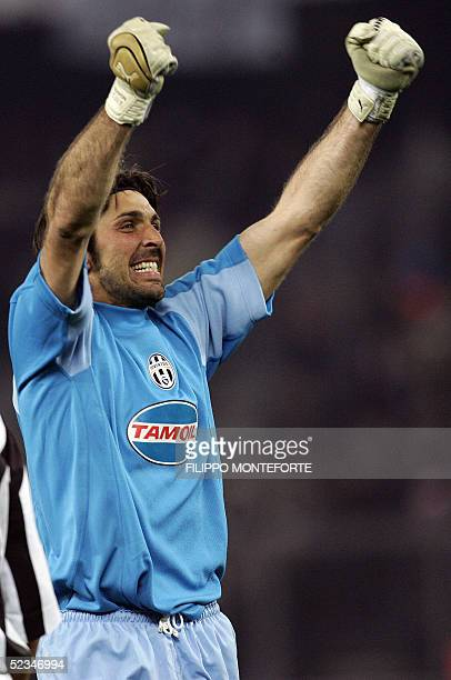 Juventus goalkeeper Gianluigi Buffon jubilates after winning 20 against Real Madrid the Champion's League 2nd leg football match at Delle Alpi...