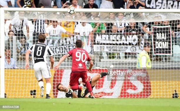 Juventus goalkeeper Gianluigi Buffon keeps tha ball during the penalty during the Serie A match between Juventus and Cagliari Calcio at Allianz...