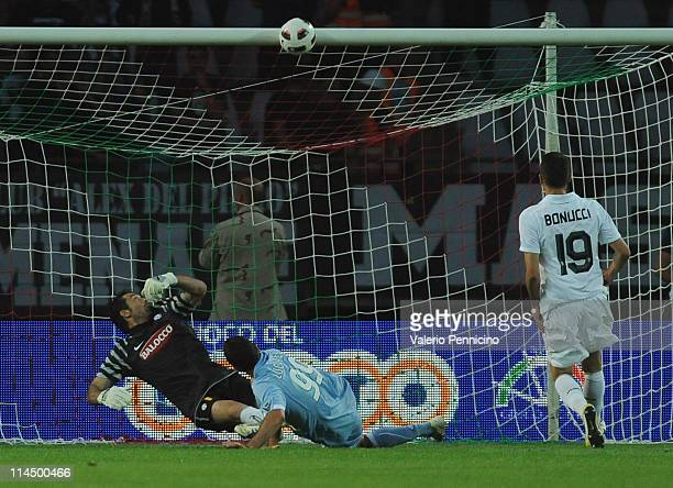 Juventus' goalkeeper Gianluigi Buffon looks up as Cristiano Lucarelli of SSC Napoli strikes the post during the Serie A match between Juventus FC and...