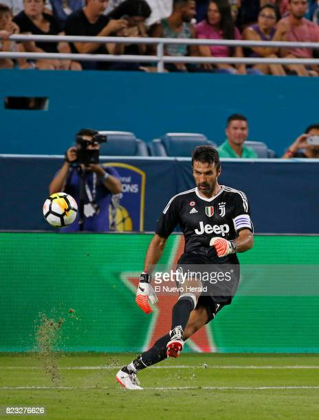 Juventus goalkeeper Gianluigi Buffon puts ball in play against Paris SaintGermain during the first half of an International Champions Cup match on...