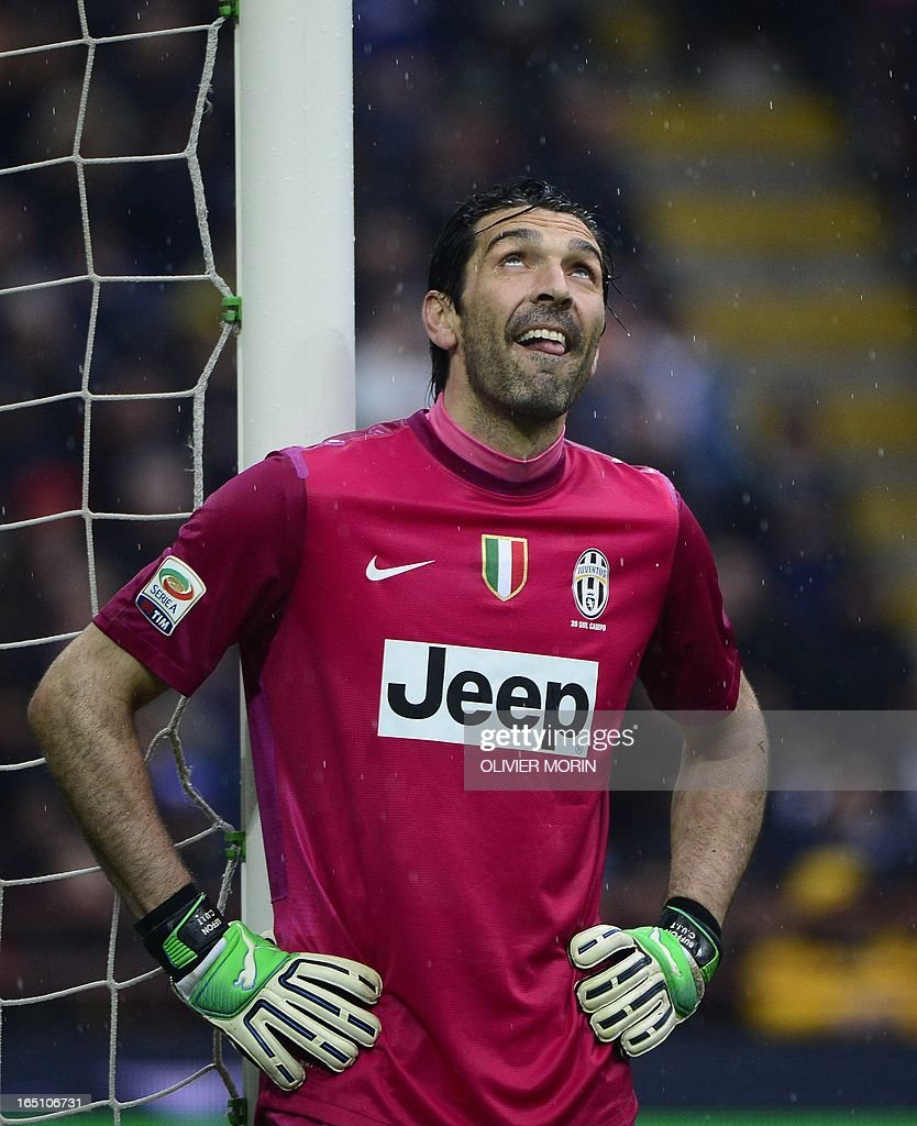 Juventus' goalkeeper Gianluigi Buffon reacts after a save during the Italian serie A football match between Inter Milan and Juventus, on March 30, 2013 at the San Siro stadium in Milan.