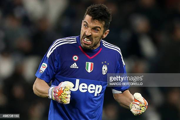 Juventus' goalkeeper Gianluigi Buffon reacts during the Italian Serie A football match between Juventus and AC Milan on November 21 2015 at the...