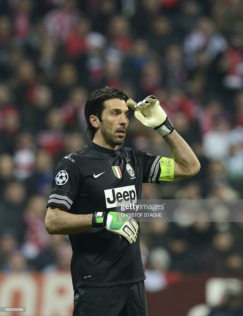 Juventus' goalkeeper Gianluigi Buffon reacts during the UEFA Champions League quarter final football match between FC Bayern Munich vs Juventus Turin in Munich, southern Germany, on April 2, 2013.