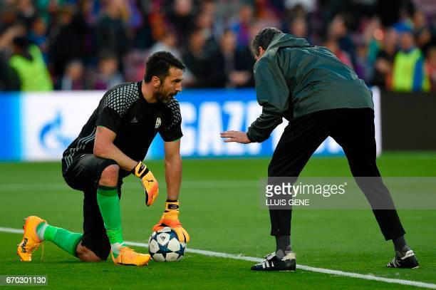 Juventus' goalkeeper Gianluigi Buffon warmsup before the UEFA Champions League quarterfinal second leg football match FC Barcelona vs Juventus at the...