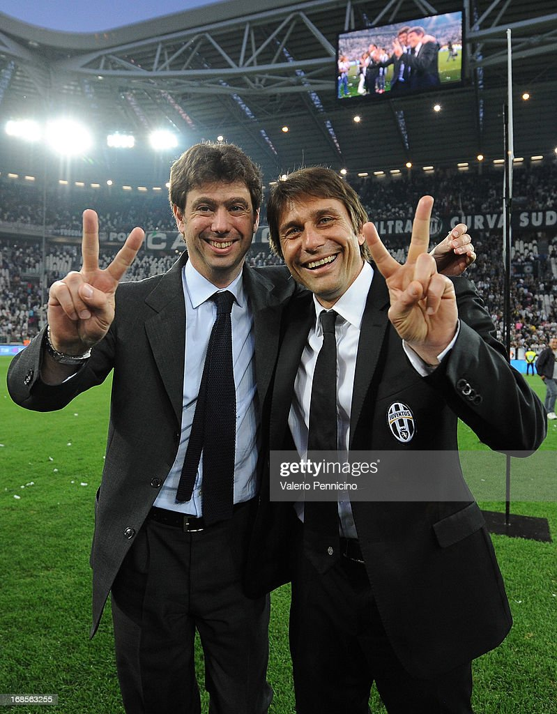 Juventus head coach <a gi-track='captionPersonalityLinkClicked' href=/galleries/search?phrase=Antonio+Conte&family=editorial&specificpeople=2379002 ng-click='$event.stopPropagation()'>Antonio Conte</a> (R) and president <a gi-track='captionPersonalityLinkClicked' href=/galleries/search?phrase=Andrea+Agnelli&family=editorial&specificpeople=3105759 ng-click='$event.stopPropagation()'>Andrea Agnelli</a> celebrate win the Serie A Championships at the end of the Serie A match between Juventus and Cagliari Calcio at Juventus Arena on May 11, 2013 in Turin, Italy.