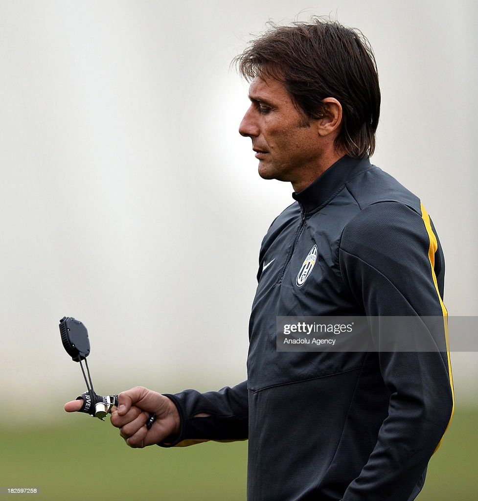 Juventus' head coach Antonio Conte during a training session on October 01, 2013 in Turin, Italy. Turkey's Galatasaray to face Italy's Juventus in the UEFA Champions League Group B match on October 2, 2013 at Juventus Stadium.