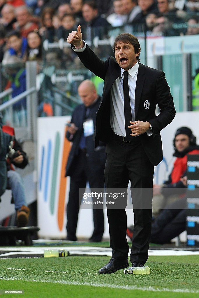 FC Juventus head coach Antonio Conte gestures during the Serie A match between FC Juventus and Calcio Catania at Juventus Arena on March 10, 2013 in Turin, Italy.