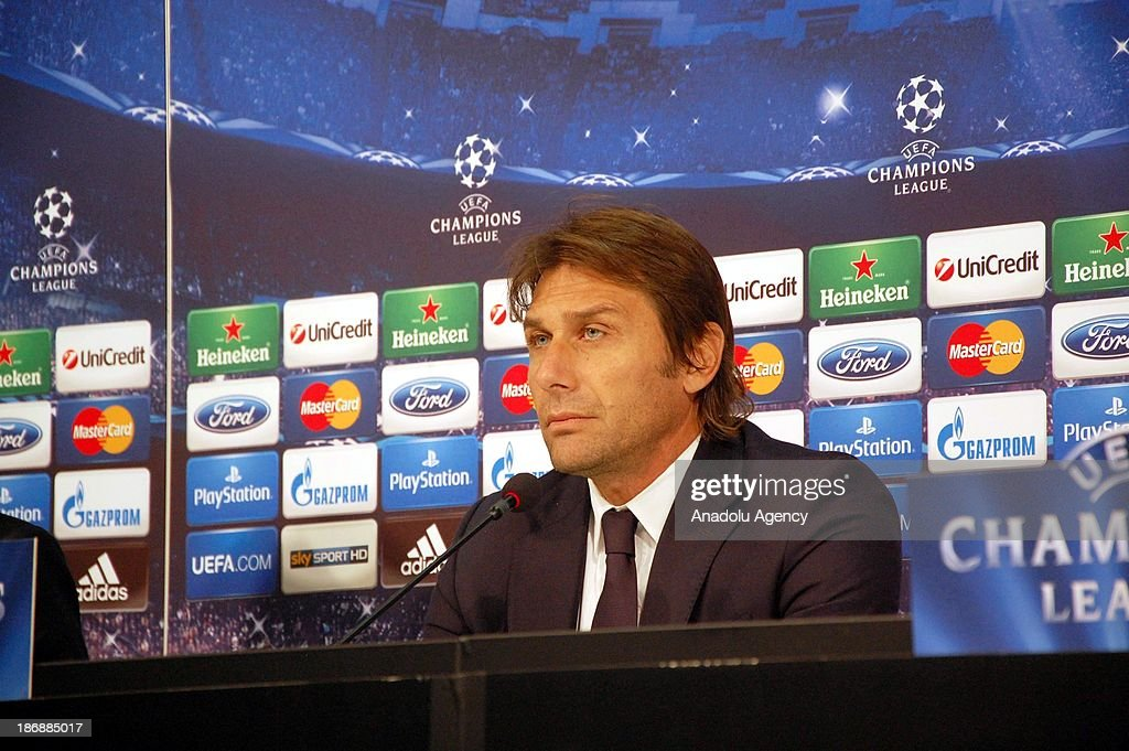Juventus' head coach Antonio Conte holds a press conference at Juventus Stadium on November 4, 2013 in Turin, Italy. Juventus will face Real Madrid in a UEFA Champions League Group B soccer match at Juventus Stadium on November 5.