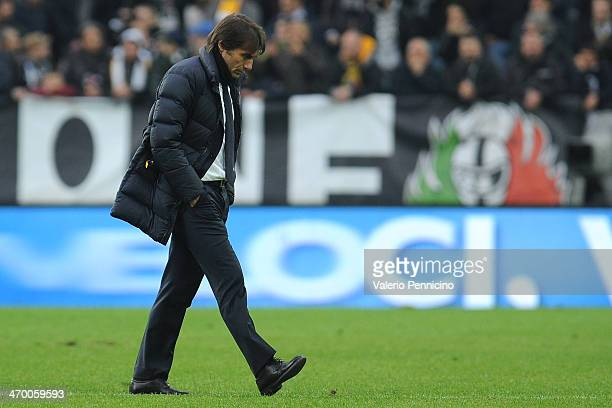 Juventus head coach Antonio Conte looks on at the end of the Serie A match between Juventus and AC Chievo Verona at Juventus Arena on February 16...
