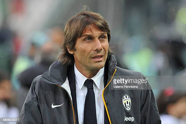 Juventus head coach Antonio Conte looks on during the Serie A match between Juventus and Bologna FC at Juventus Arena on April 19 2014 in Turin Italy