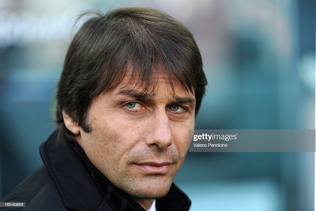 FC Juventus head coach <a gi-track='captionPersonalityLinkClicked' href=/galleries/search?phrase=Antonio+Conte&family=editorial&specificpeople=2379002 ng-click='$event.stopPropagation()'>Antonio Conte</a> looks on prior to the Serie A match between FC Juventus and Calcio Catania at Juventus Arena on March 10, 2013 in Turin, Italy.
