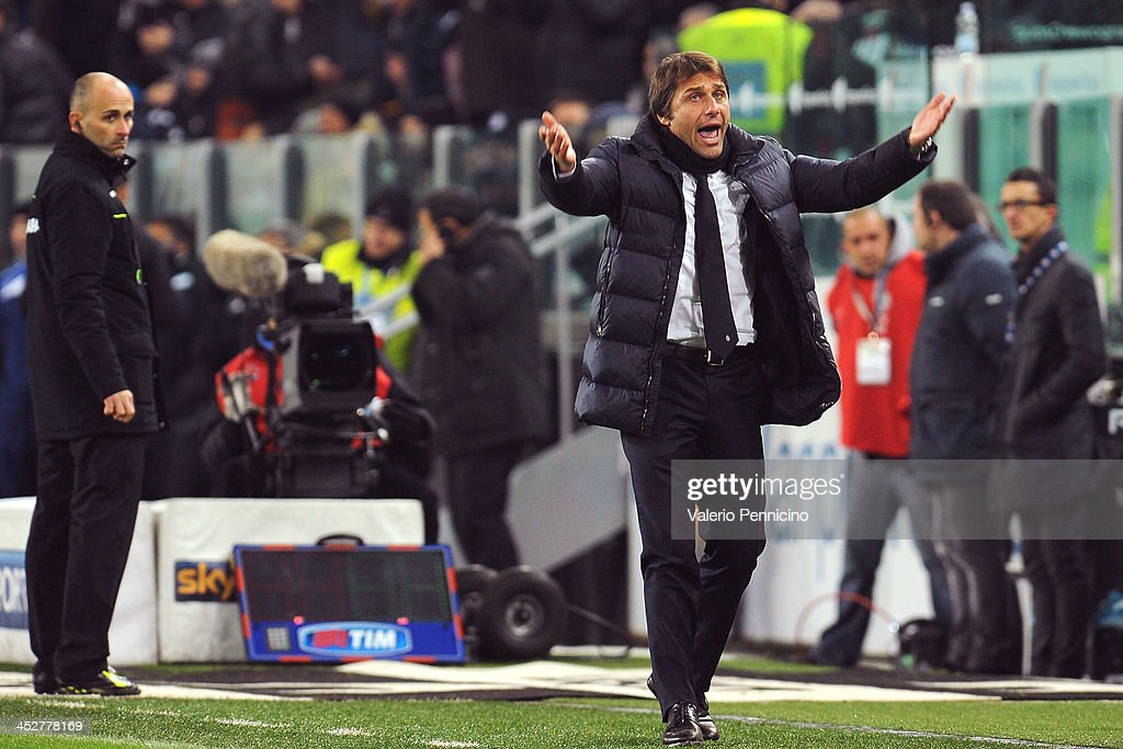 Juventus head coach Antonio Conte reacts during the Serie A match between Juventus and Udinese Calcio at Juventus Arena on December 1, 2013 in Turin, Italy.