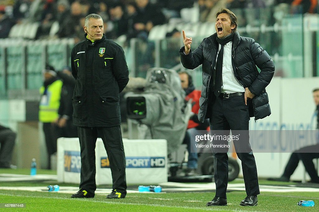 Juventus head coach <a gi-track='captionPersonalityLinkClicked' href=/galleries/search?phrase=Antonio+Conte&family=editorial&specificpeople=2379002 ng-click='$event.stopPropagation()'>Antonio Conte</a> reacts during the Tim Cup match between Juventus and US Avellino at Juventus Arena on December 18, 2013 in Turin, Italy.