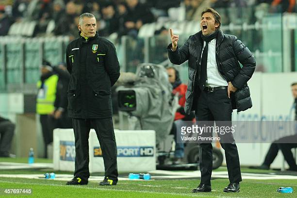 Juventus head coach Antonio Conte reacts during the Tim Cup match between Juventus and US Avellino at Juventus Arena on December 18 2013 in Turin...