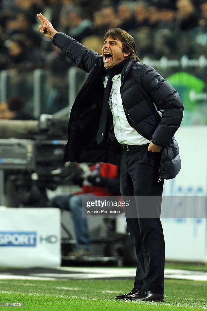 Juventus head coach <a gi-track='captionPersonalityLinkClicked' href=/galleries/search?phrase=Antonio+Conte&family=editorial&specificpeople=2379002 ng-click='$event.stopPropagation()'>Antonio Conte</a> shouts to his players during the Serie A match between Juventus and Torino FC at Juventus Arena on February 23, 2014 in Turin, Italy.