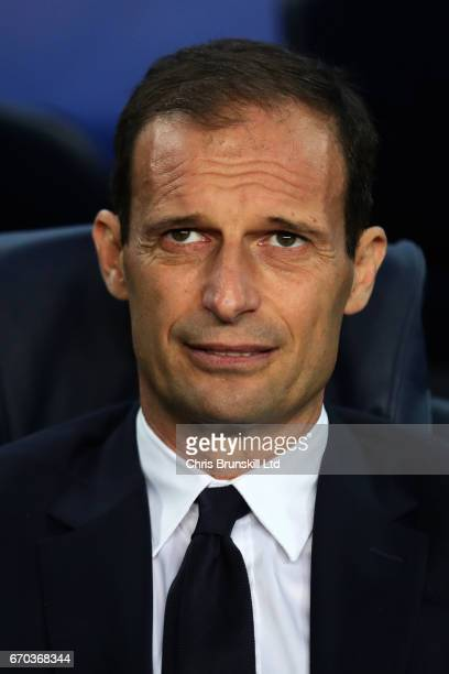 Juventus Head Coach / Manager Massimiliano Allegri looks on prior to the UEFA Champions League Quarter Final second leg match between FC Barcelona...