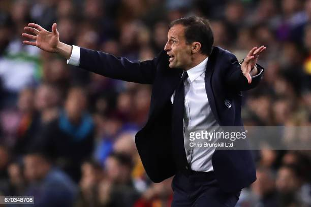 Juventus Head Coach / Manager Massimiliano Allegri reacts during the UEFA Champions League Quarter Final second leg match between FC Barcelona and...