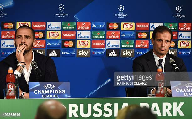 Juventus' head coach Massimiliano Allegri and Juventus' defender Leonardo Bonucci address a press conference on the eve of the Group D secondleg UEFA...