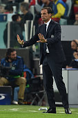 Juventus head coach Massimiliano Allegri gestures during the UEFA Champions League group E match between Juventus and Sevilla FC on September 30 2015...