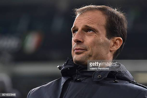 Juventus head coach Massimiliano Allegri looks on during the TIM Cup match between FC Juventus and Torino FC at Juventus Arena on December 16 2015 in...