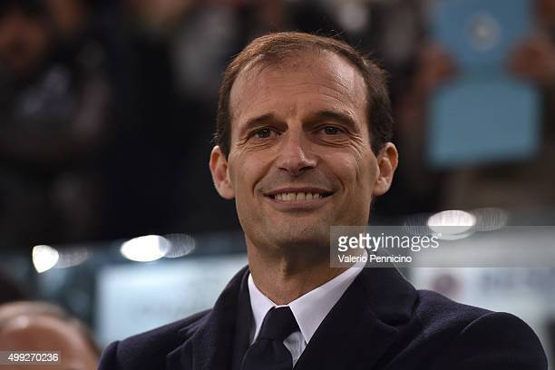 Juventus head coach Massimiliano Allegri smiles during the UEFA Champions League group stage match between Juventus and Manchester City FC at...
