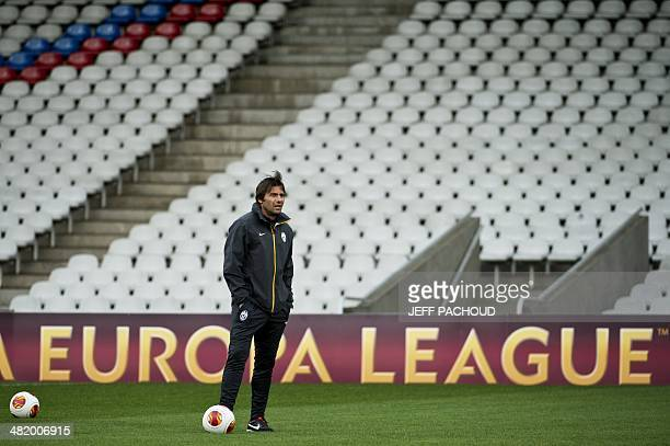 Juventus' Italian coach Antonio Conte takes part in a training session during a training session on April 2 at the Gerland Stadium in Lyon on the eve...