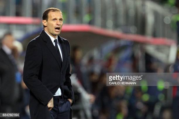 Juventus' Italian coach Massimiliano Allegri shouts during the Italian Serie A football match between FC Crotone and Juventus FC on February 8 2017...