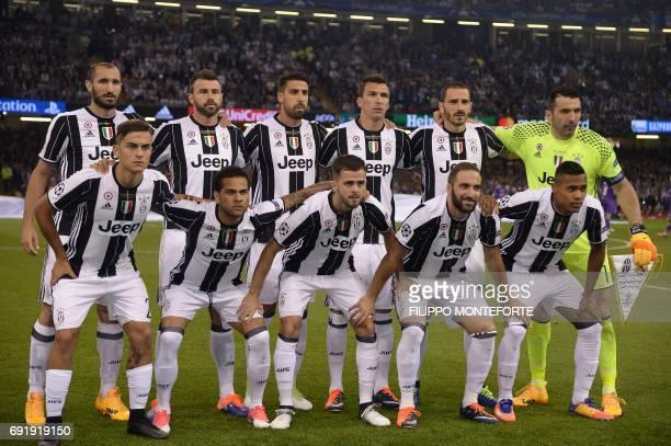 Juventus' Italian defender Giorgio Chiellini Juventus' Italian defender Andrea Barzagli Juventus' German midfielder Sami Khedira Juventus' Croatian...