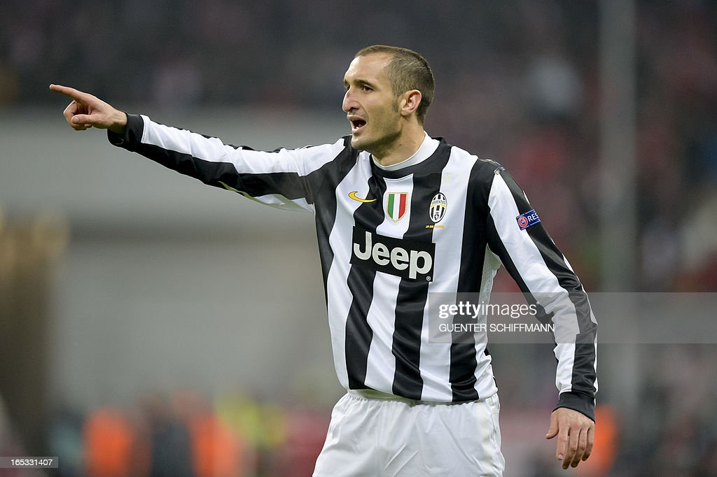 Juventus' Italian defender Giorgio Chiellini reacts during the UEFA Champions League quarter final match between FC Bayern Munich vs Juventus Turin at the Allianz Arena stadium in Munich, southern Germany, on April 2, 2013.