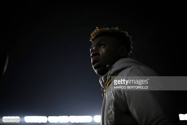 Juventus' Italian forward Moise Kean attends the Italian Serie A football match between Juventus and Pescara at the Juventus Stadium in Turin on...