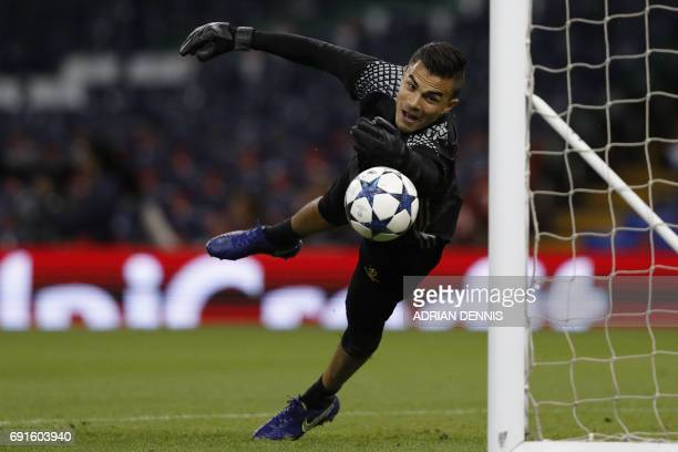 Juventus' Italian goalkeeper Emil Audero takes part in a training session at The Principality Stadium in Cardiff south Wales on June 2 on the eve of...