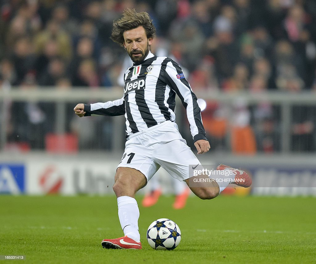 Juventus' Italian midfielder Andrea Pirlo reacts during the UEFA Champions League quarter final match between FC Bayern Munich vs Juventus Turin at the Allianz Arena stadium in Munich, southern Germany, on April 2, 2013.