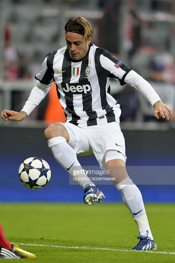 Juventus' Italian striker Alessandro Matri reacts during the UEFA Champions League quarter final match between FC Bayern Munich vs Juventus Turin at the Allianz Arena stadium in Munich, southern Germany, on April 2, 2013. AFP PHOTO / GUENTER SCHIFFMANN