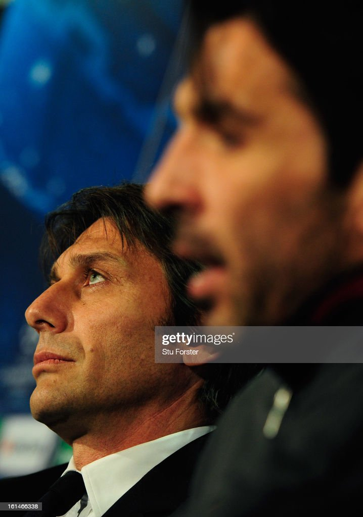 Juventus manager <a gi-track='captionPersonalityLinkClicked' href=/galleries/search?phrase=Antonio+Conte&family=editorial&specificpeople=2379002 ng-click='$event.stopPropagation()'>Antonio Conte</a> (l) and Gianluigi Buffon face the press during the Juventus press conference at Celtic Park on February 11, 2013 in Glasgow, Scotland.