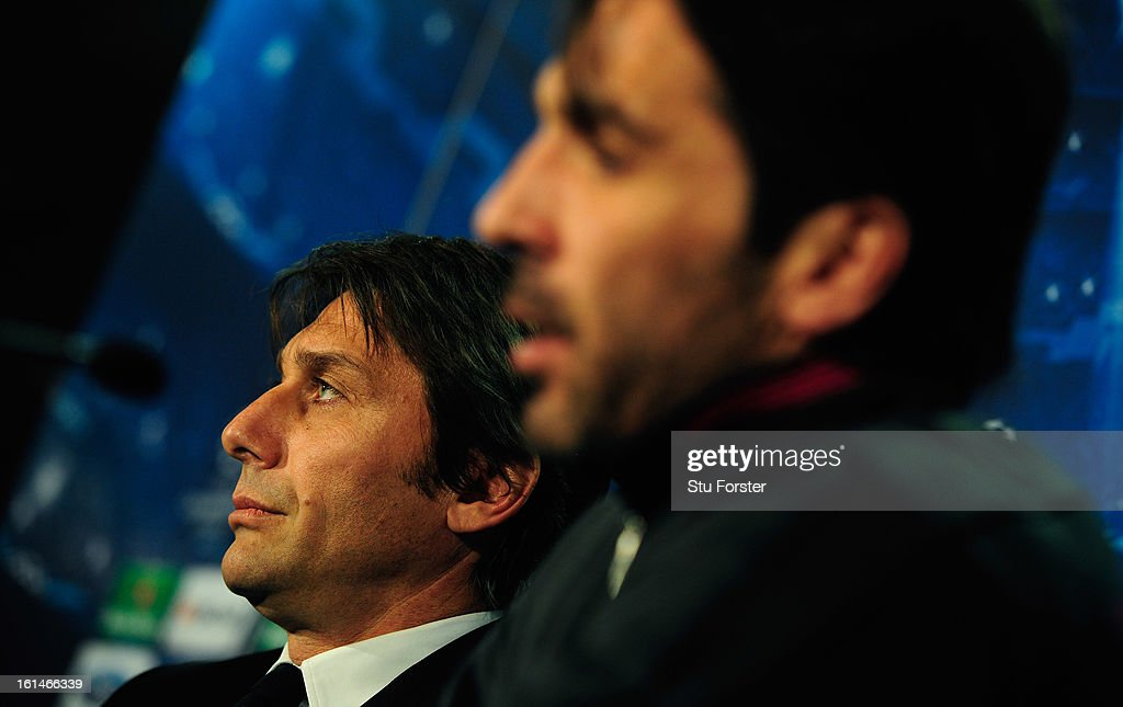 Juventus manager Antonio Conte (l) and Gianluigi Buffon face the press during the Juventus press conference at Celtic Park on February 11, 2013 in Glasgow, Scotland.