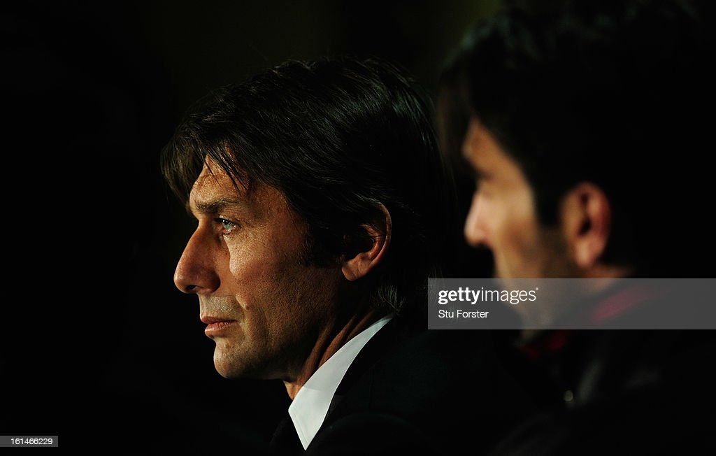 Juventus manager <a gi-track='captionPersonalityLinkClicked' href=/galleries/search?phrase=Antonio+Conte&family=editorial&specificpeople=2379002 ng-click='$event.stopPropagation()'>Antonio Conte</a> faces the press during the Juventus press conference at Celtic Park on February 11, 2013 in Glasgow, Scotland.