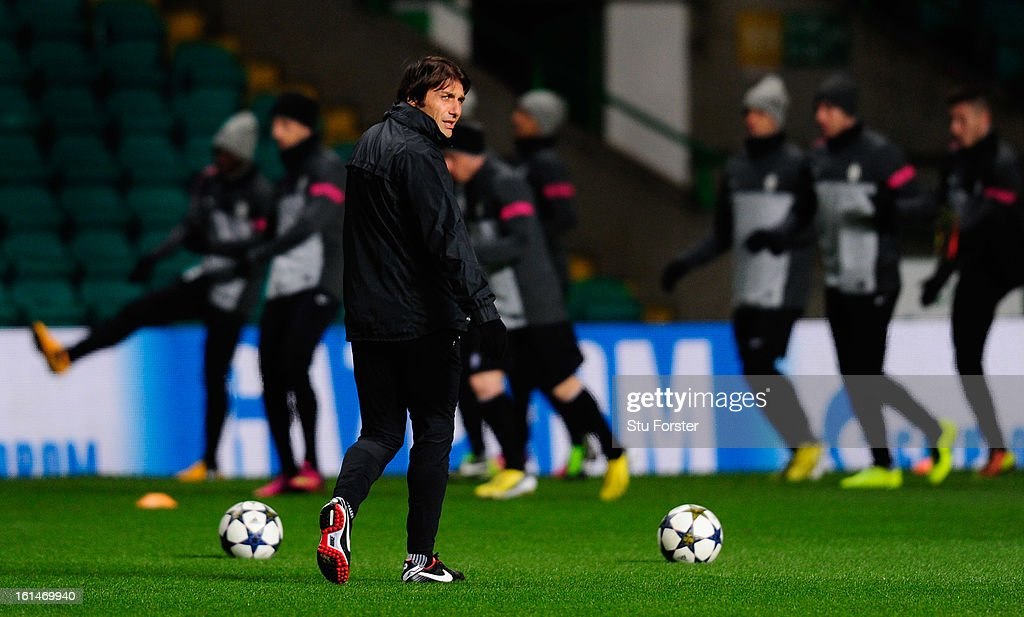 Juventus manager <a gi-track='captionPersonalityLinkClicked' href=/galleries/search?phrase=Antonio+Conte&family=editorial&specificpeople=2379002 ng-click='$event.stopPropagation()'>Antonio Conte</a> looks on during the Juventus training session at Celtic Park on February 11, 2013 in Glasgow, Scotland.
