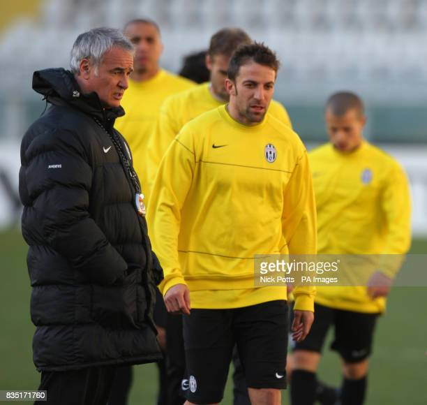 Juventus Manager Claudio Ranieri and Alessandro Del Piero during a training session at the Stadio Olimpico Turin