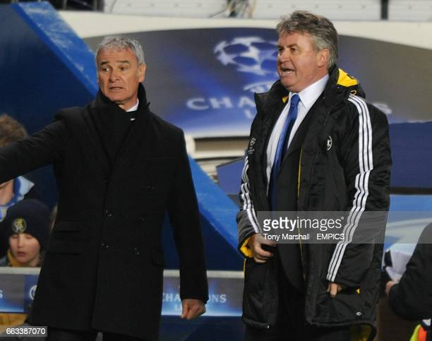 Juventus' manager Claudio Ranieri and Chelsea's manager Guus Hiddink on the touchline