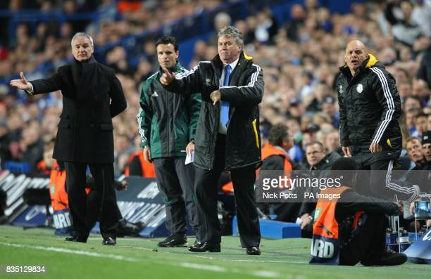 Juventus' manager Claudio Ranieri Chelsea's manager Guus Hiddink and his assistant Ray Wilkins on the touchline