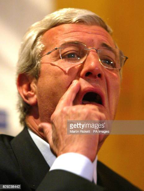 Juventus manager Marcello Lippi speaks at a press conference before his teams' Champions League match against Manchester United at Old Trafford THIS...