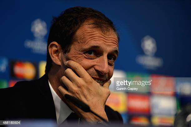 Juventus manager Massimiliano Allegri during a press conference at the Etihad Stadium on September 14 2015 in Manchester United Kingdom
