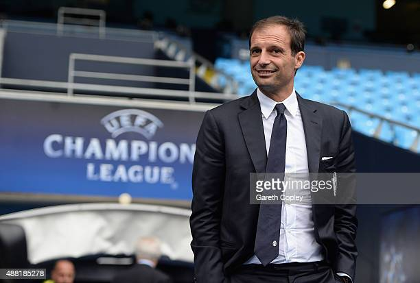 Juventus manager Massimiliano Allegri during a walkaround the Etihad Stadium on September 14 2015 in Manchester United Kingdom