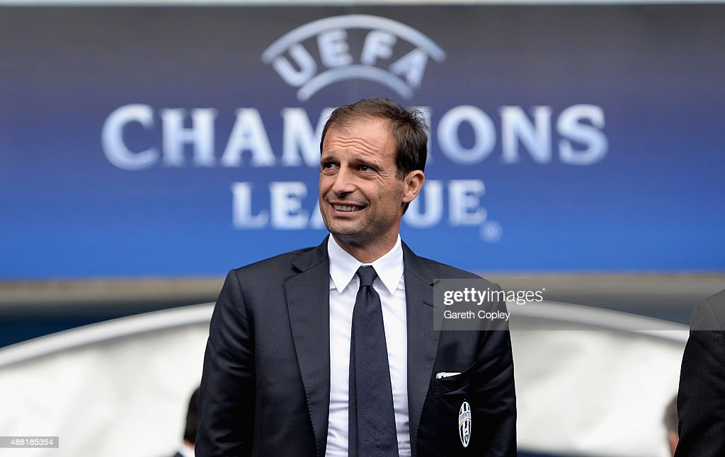 Juventus manager <a gi-track='captionPersonalityLinkClicked' href=/galleries/search?phrase=Massimiliano+Allegri&family=editorial&specificpeople=3470667 ng-click='$event.stopPropagation()'>Massimiliano Allegri</a> during a walkaround the Etihad Stadium on September 14, 2015 in Manchester, United Kingdom.