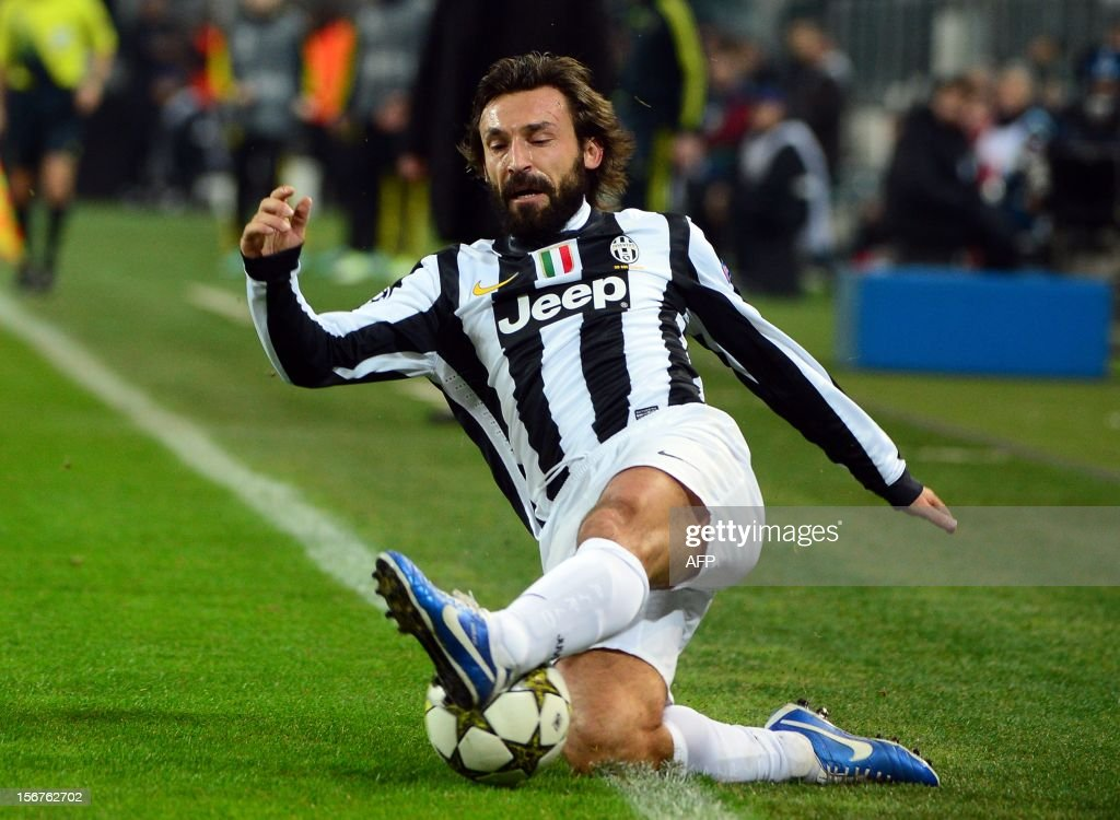 Juventus' midfielder Andrea Pirlo controls the ball during the football Champions League match between Juventus and Chelsea on November 20, 2012 in the stadium of Alps in Turin.
