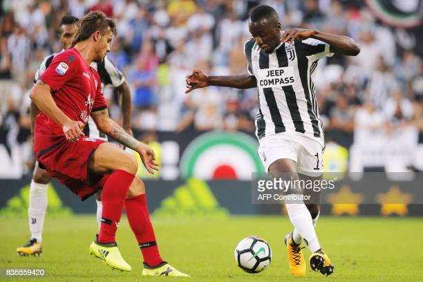 Juventus' midfielder Blaise Matuidi from France drives the ball during the Italian Serie A football match Juventus Vs Cagliari on August 19 2017 at...
