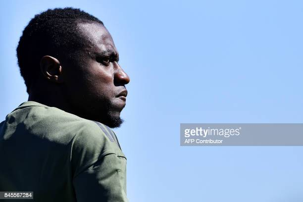 TOPSHOT Juventus' midfielder Blaise Matuidi from France takes part in a training session on the eve of the UEFA Champions League football match...
